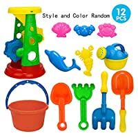 JINKAKA 22pcs Kids Sand, Sandpit, Beach Toy Play Set Castle Bucket Spade Shovel Rake Bath Toys