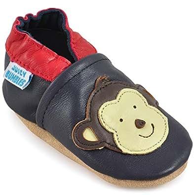 Juicy Bumbles - Weicher Leder Lauflernschuhe Krabbelschuhe Babyhausschuhe mit Wildledersohlen. Junge Mädchen Kleinkind- Gr. 0-6 Monate (Größe 19/20)- Affe