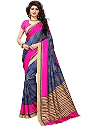 Kanchnar Women's Blue And Pink Art Silk (Vichitra Silk) Printed Saree