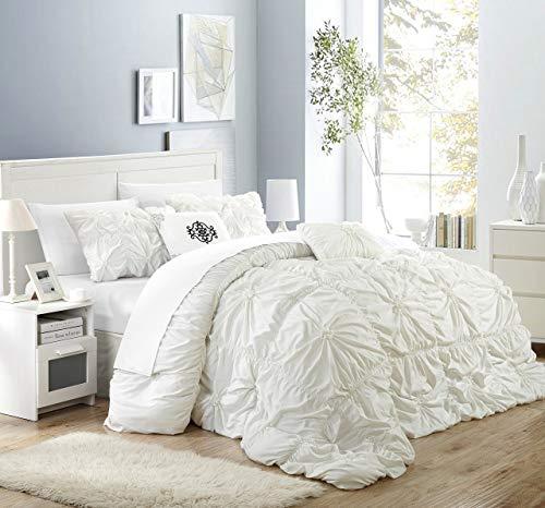 Chic Home 6Stück 'EL Halpert Floral Pinch Falte Rüschen Design-verziert Tröster Set, weiß, King Size