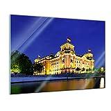 Glasbild - Reichstag - Berlin - - 80 x 60 cm - Deko Glas - Wandbild aus Glas - Bild auf Glas - Moderne Glasbilder - Glasfoto - Echtglas - Kein Acryl - Handmade