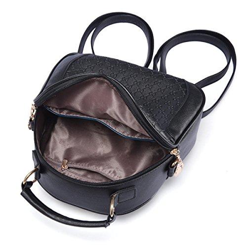 Damen Schultertasche Handtaschen Einfache Mode PU Kleinen Rucksack Black