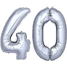 DekoRex® 100cm Globo Balón de Helio Número de plata brillante argentado Decoración del globo del cumpleaños No. 40