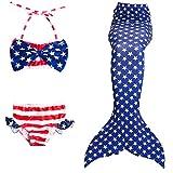 Das beste Mädchen Meerjungfrauen Bikini Kostüm Meerjungfrau Schwimmanzug Badeanzüge Tankini (140, amerikanische Flagge)