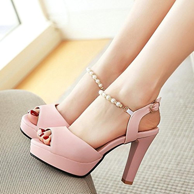 c42da4959b8 YMFIE Summer Summer Summer sweet beaded high heel open-toe sandals fish  mouth shoes ladies high heels B07FGFMNDZ Parent 473b80