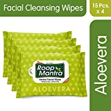 Roop Mantra Aloevera Facial Cleansing Wipes, 15 Count, Pack of 4 - Facial Wipes for Men & Women, Skincare Wipes