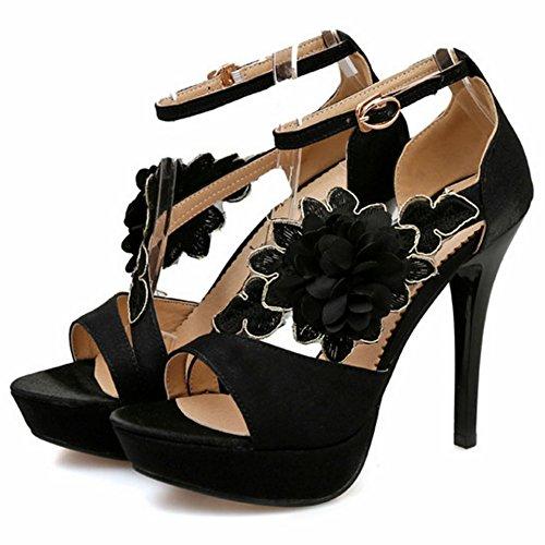 TAOFFEN Femmes Peep Toe Sandales Elegant Talons Hauts Ete Chaussures De Fleur Noir