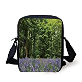 ZKHTO Woodland Decor,A Sea of Bluebells Flowers in Forest Springtime April Countryside Seasonal Picture,Purple Green Print Kids Crossbody Messenger Bag Purse