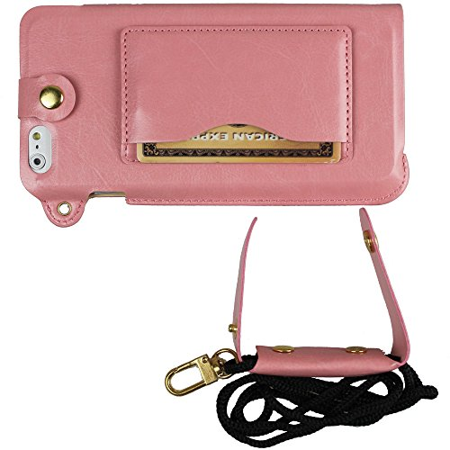 xhorizon® Bändsel PU LederTasche Kartenhalter Stand Case Hülle für 4.7 Inch iPhone 6 Pink