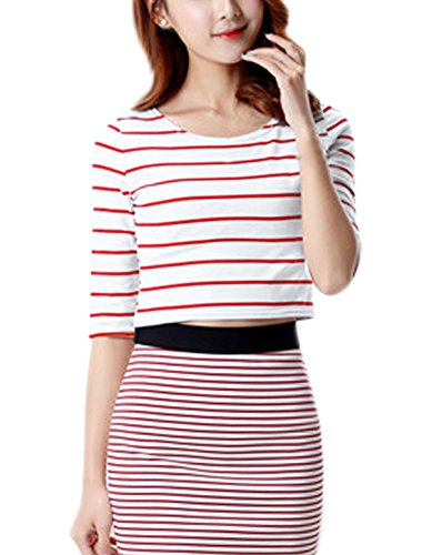 Small / US 6 , Red : Generic Women Round Neck Half Sleeves Stripes Slim Fit Crop Top