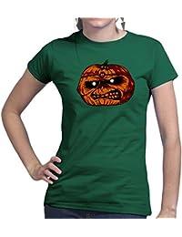 Womens Maiden Pumpkin Halloween Costume Scary New Ladies T Shirt (Tee, Top)