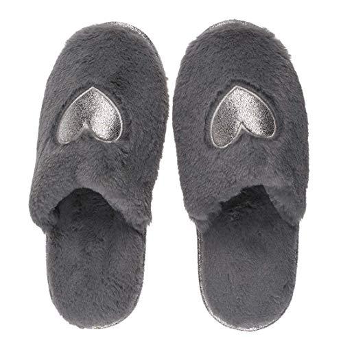 Objektkult Plüsch Hausschuhe Kuschel- Pantoffeln Comfort Heart, grau mit Silber-farbenem Herz, Slipper/Schlappen, kuschelig-warm, gemütlich und stylisch, Grösse:38/39