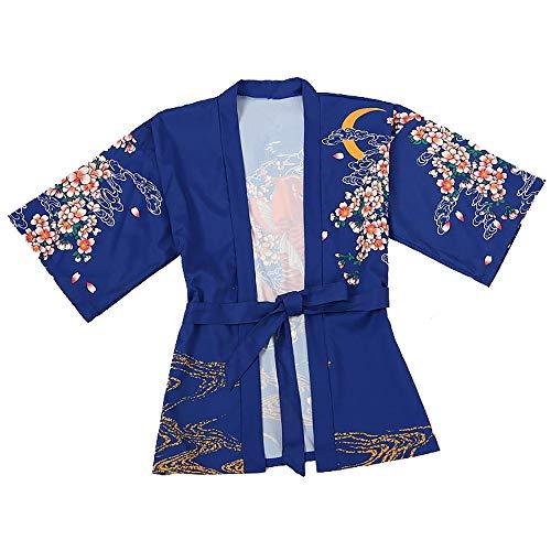 IZHH Damen Strickjacke Damen Open Cape Casual Fashion Mantel Bluse Kimono Jacke Loose Sonnencreme Casual Pullover Jacke Code Asian Style Cardigan(Blau,one-Smallize)
