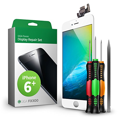 GIGA Fixxoo Display Set kompatibel mit iPhone 6 Plus, Reparaturset Komplett Weiß, Ersatz Bildschirm, Retina LCD Glas mit Touchscreen, inkl. integrierte Frontkamera & Werkzeug - Lcd Plus Austausch Iphone 6