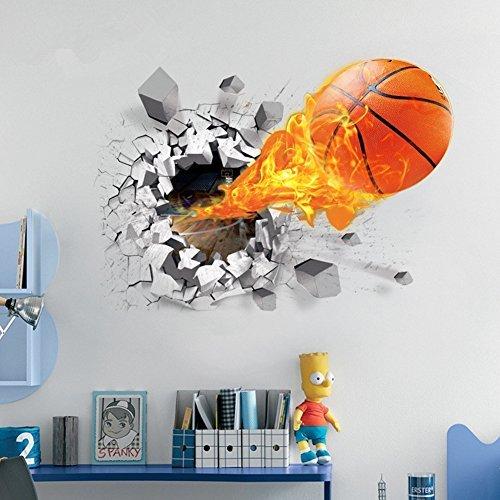 Decorator World Wall Map (U-Shark 3D Self-adhesive Removable Break Through the Wall Vinyl Wall Sticker/Mural Art Decals Decorator (Flying Fire Basketball (19.7 X 27.6)) by U-Shark)