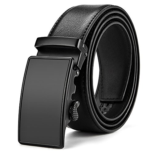 MUCO Leather belt for men, simple and classic, with automatic buckle