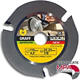 GRAFF Speedcutter Disco de Corte Amoladora Madera 115mm / 125mm, TCT Hoja de Sierra Circular para Madera 3 Dientes (115 mm)