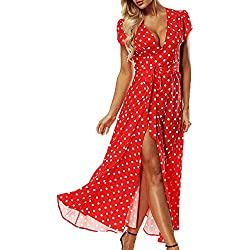 ACHIOOWA Mujer Vestido Elegante Casual Playa Bohemio Dress Lunares Cuello V Manga Corta Escote Fiesta Cóctel Falda Larga Rojo XL