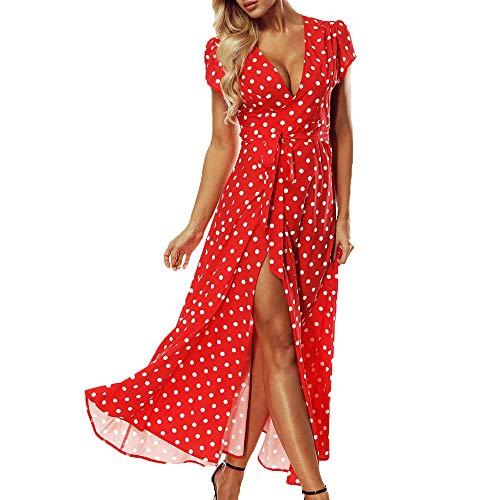 ACHIOOWA Mujer Vestido Elegante Casual Playa Bohemio
