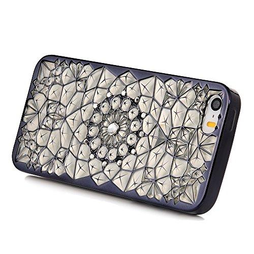 Mavis's Diary Coque iPhone 5/iPhone 5S/iPhone SE TPU Souple Or Bling Strass Fleur Housse de Protection Étui Téléphone Portable Phone Case Cover+Chiffon noir