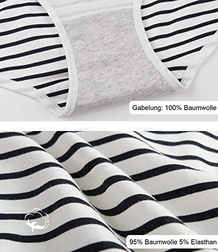 INNERSY Damen Unterhosen Baumwolle Taillenslips Mädchen Streifenmuster 6er Pack (46, Mehrfarbig Streifen) - 3
