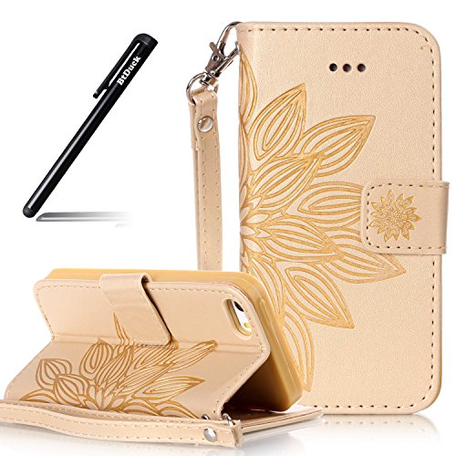Custodia Libro per iPhone 5S,BtDuck Ultra Sottile PU Pelle Borsa e Portafoglio Tasca Campanula Modello Libro Stand Case Cover Morbido Silicon Gel Back Case Bumper Cover Custodia in Premium Flip Cover #D Oro