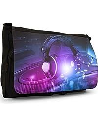 Preisvergleich für Liebe Musik mit Kopfhörern & Noten Große Messenger- / Laptop- / Schultasche Schultertasche aus schwarzem Canvas