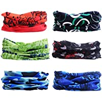 Headwear Bandanas, Sahara Sailor [6 pack ] Outdoor Seamless Multi-purpose Magic scarf Elastic Headband Gaiter Balaclava for riding, motorcycling, hiking, fishing and other outdoor activities