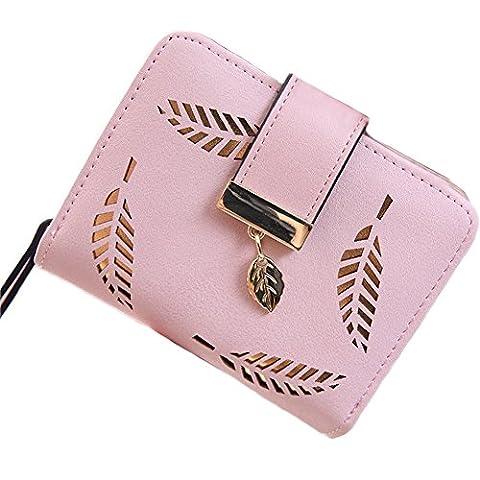 Portemonnaie kurzer Geldbörse Damen IHRKleid® Brieftasche Süß Katze Mädchen Handtasche (Rosa)