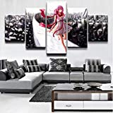 HY.Bohu wall decor Home Decorative Print Canvas Oil Painting Wall Art 5 Pieces Anime Guilty Crown Inori Yuzuriha Poster For Living Room Wall Decor