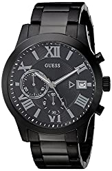 Guess Men's U0668g5 Dressy Black Stainless Steel Multi-function Watch With Chronograph Dial & Deployment Buckle