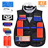 LOYO Tactical Vest, 47 Pack Tactical Vest Jacket Kit for Nerf Gun N-Strike Elite Series with 40Pcs Darts Bullets, 12-Dart Quick Reload Clips, Scarf, 8-Dart Wrist Band, Seamless Face Mask & Goggle