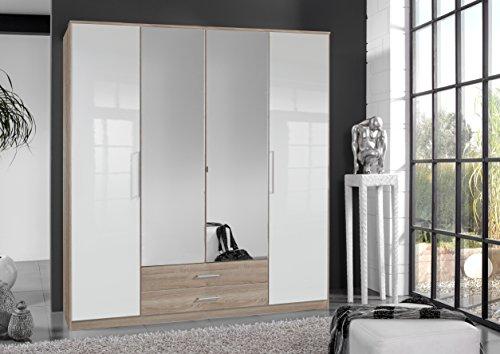 Wimex Kleiderschrank/ Drehtürenschrank Gamma, (B/H/T) 180 x 197 x 58 cm, Weiß/Eiche Sägerau