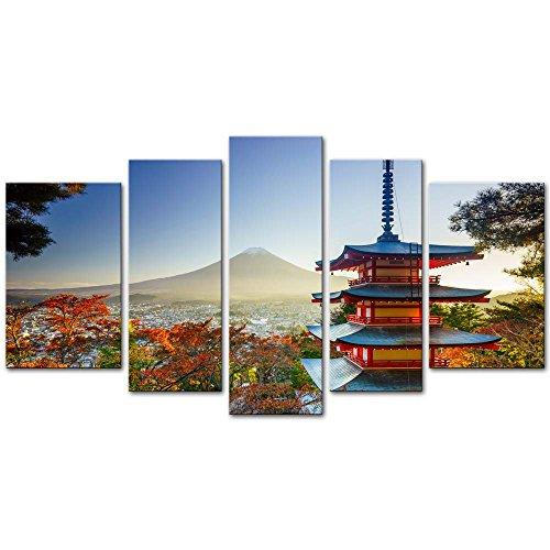 Wall Art Decor Poster Gemälde auf Leinwand Bild 5 Stück Mt. Fuji mit Chureito Pagode im Herbst Fujiyoshida Japan Landschaft Berg Gerahmtes Bild für Home Decor Wohnzimmer Kunst
