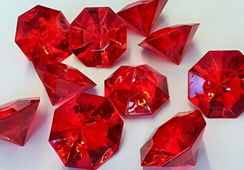 Acryl Streudeko Deko - Diamanten. Größe ca 32 mm. 10 Stück. Farbe: ROT -01