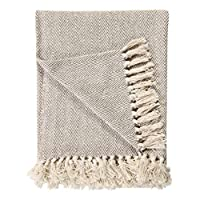 100% Natural Cotton Two Tone Herringbone King Size 3 Seater Throws for Sofa Bedspread,Settee Throw- 225 x 250cm