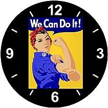 """'Cristal Reloj """"Emancipación de EURYTHMICS de Feminismo de muscular de Hace de Revolution de hermanas de mujeres de chica de póster de reloj de pared estante de vidrio de reloj superventas de diversión de diseño de culto de regalo idea Pascua Navidad, vidrio, negro, 30 cm diámetro"""