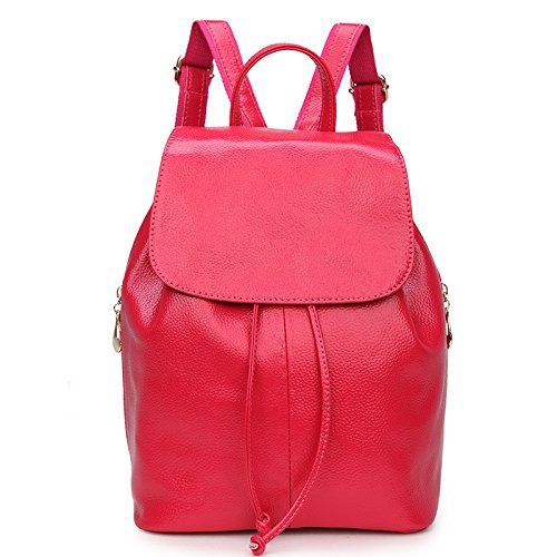 Mefly Schultertasche Aus Leder Echtes Leder Rucksack Lässig Reisetasche Leder Gefüttert Leder Rose red