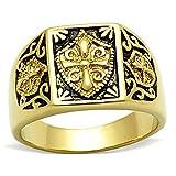 BOBIJOO Jewelry - Anillo Anillo Anillo De Hombre Mujer, Acero Inoxidable Oro El Oro Negro Fino De Correo Electrónico Cruz Templaria Escudo - 24 (11 US), Dorado - Acero Inoxidable 316