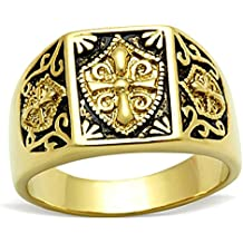 BOBIJOO Jewelry - Anillo Anillo Anillo De Hombre Mujer, Acero Inoxidable Oro El Oro Negro