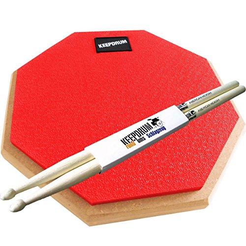 KEEPDRUM DP-RD Practice Pad Rot Drum Übungspad 8mm Gewinde + 1 Paar Drumsticks