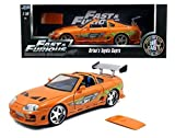 New 1:18 FAST & FURIOUS 7 - ORANGE BRIAN'S TOYOTA SUPRA WITH REMOVABLE ROOF Diecast Model Car By Jada Toys