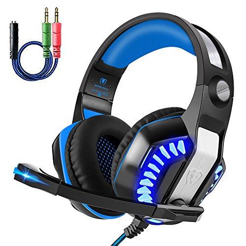 Gaming Kopfhörer PS4, Gaming Headset PC Kopfhörer mit Mikrofon 3.5mm On Ear Surround Sound Ohrhörer Lautstärkeregelung und LED Licht für PS4 Xbox One PC Laptop Tablet Smartphones