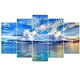 5 Pezzi Blu Appesa Pittura- Moderno Senza Telaio Disegno a Muro Decorazione di Paesaggio Marino Rosso Arte per Camera da Letto Ristorante Ufficio Soggiorno