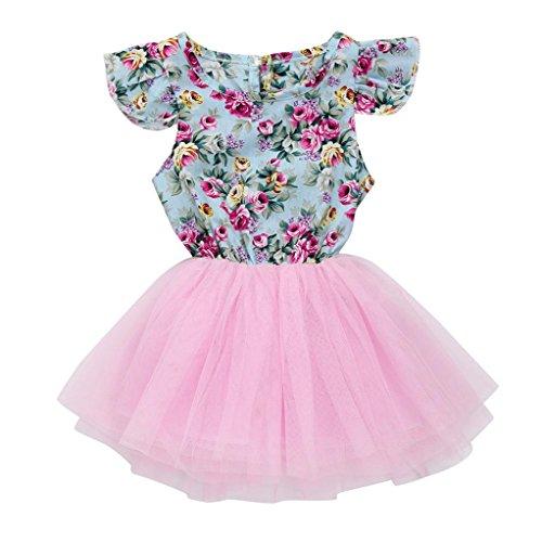 SOMESUN Rock Tütü Pettiskirt Baby Mädchen Partykleid Tütü Prinzessin Kleinkind Spitze Prinzessin Rock Sommer Kleider für Baby Kleinkinder Kinder 2-6 Jahre (Rosa, 6 Jahre) (Kleinkind Mädchen Rock)
