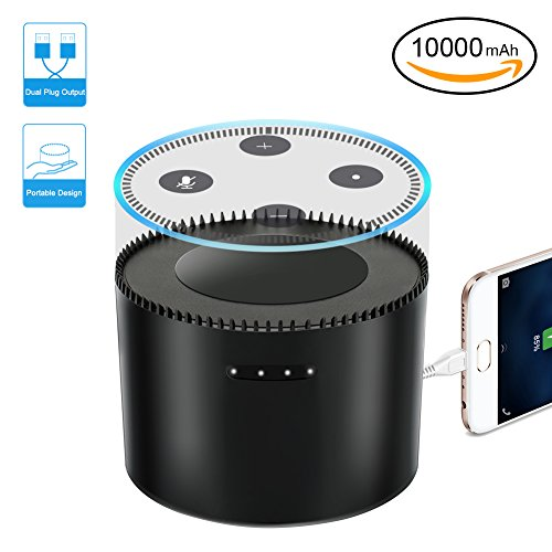Echo Dot 2 Akku, LYPULIGHT Portable Battery Base für 2nd Generation Echo Dot [Leichtigkeit bewegen] Echo Dot Zubehör 10000mAh Batterie Basis Batterie Station für Echo, Power Bank für Iphone Samsung etc