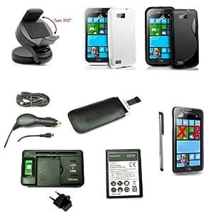12 à 1 accessoires pour Samsung ATIV S i8750 - voiture support + chargeur + Batterie + coque X2 + FILMS PROTECTEUR + microusb câble + Stylo