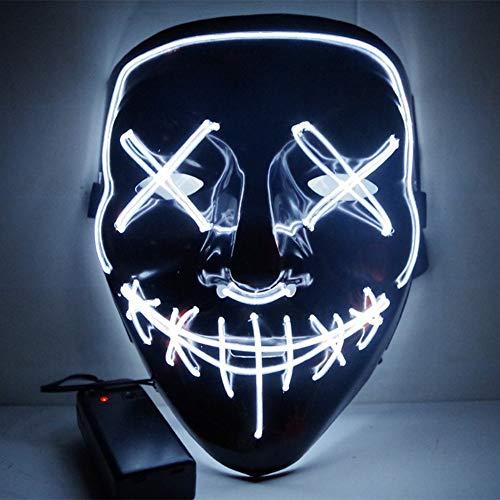 URMAGIC Halloween Kostüm Maske leuchtenden Schädel voller Gesichtsmaske Horror Skelett Cosplay Masquerade Scary EL Draht führte Licht blinkende Maske Glühen in dunkel für Karneval Festival Party (Kostüm Skelett Leuchtende)