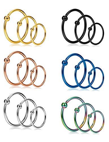 Milacolato 18pcs 20g anello da naso in acciaio inox anello da setto anello cartilagine elica piercing all'orecchio 6mm 8mm 10mm