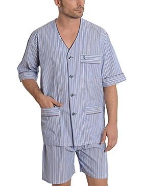 El Búho Nocturno Pijama de Caballero Corto clásico a Rayas/Ropa de Dormir para Hombre - Tela Popelín, 100% algodón...